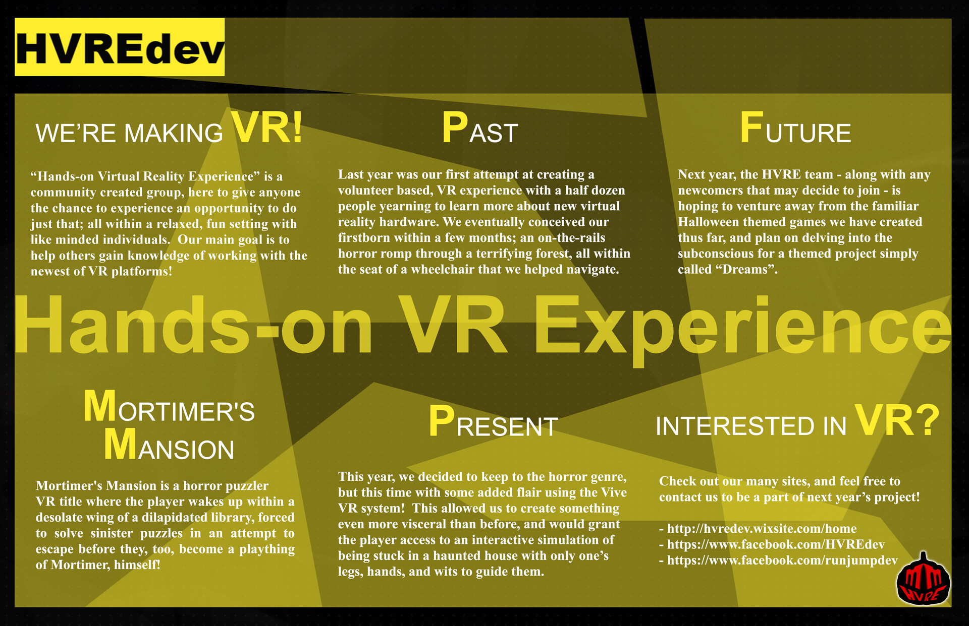 Front of brochure for HVRE, showcasing information of the group