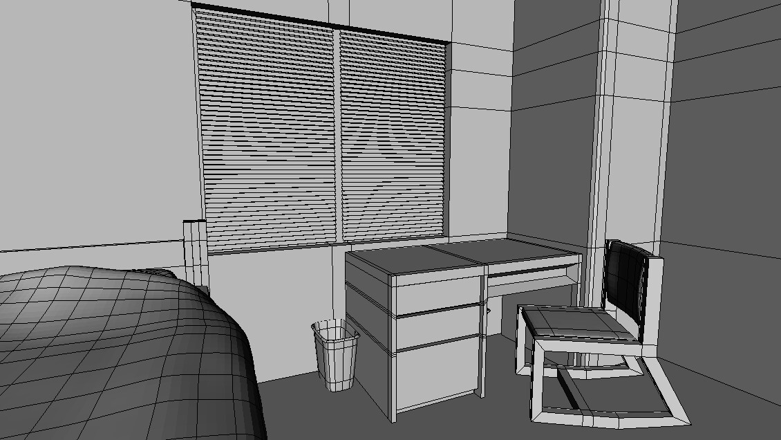 Over bed wireframe