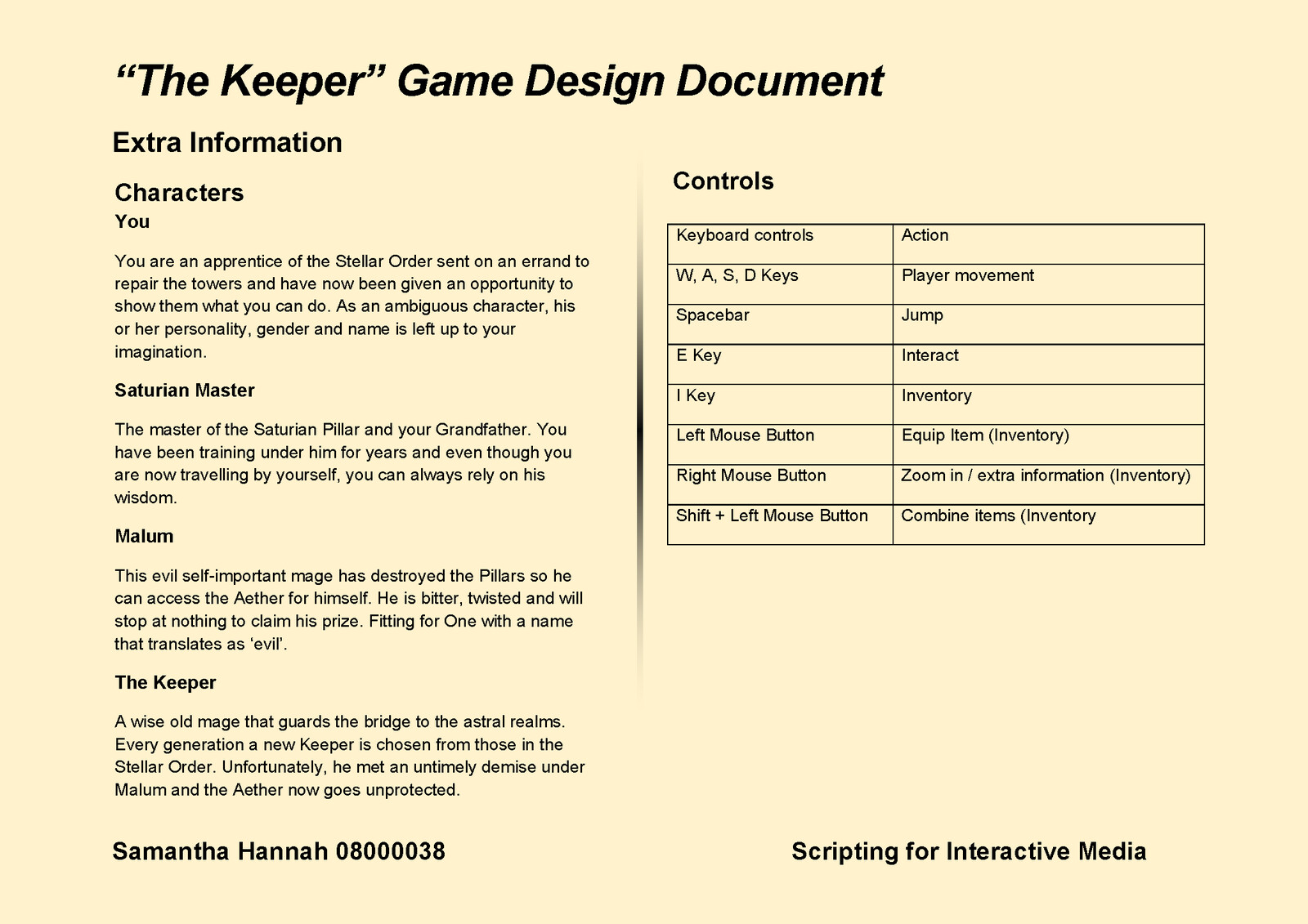 Game Design Document Page 10