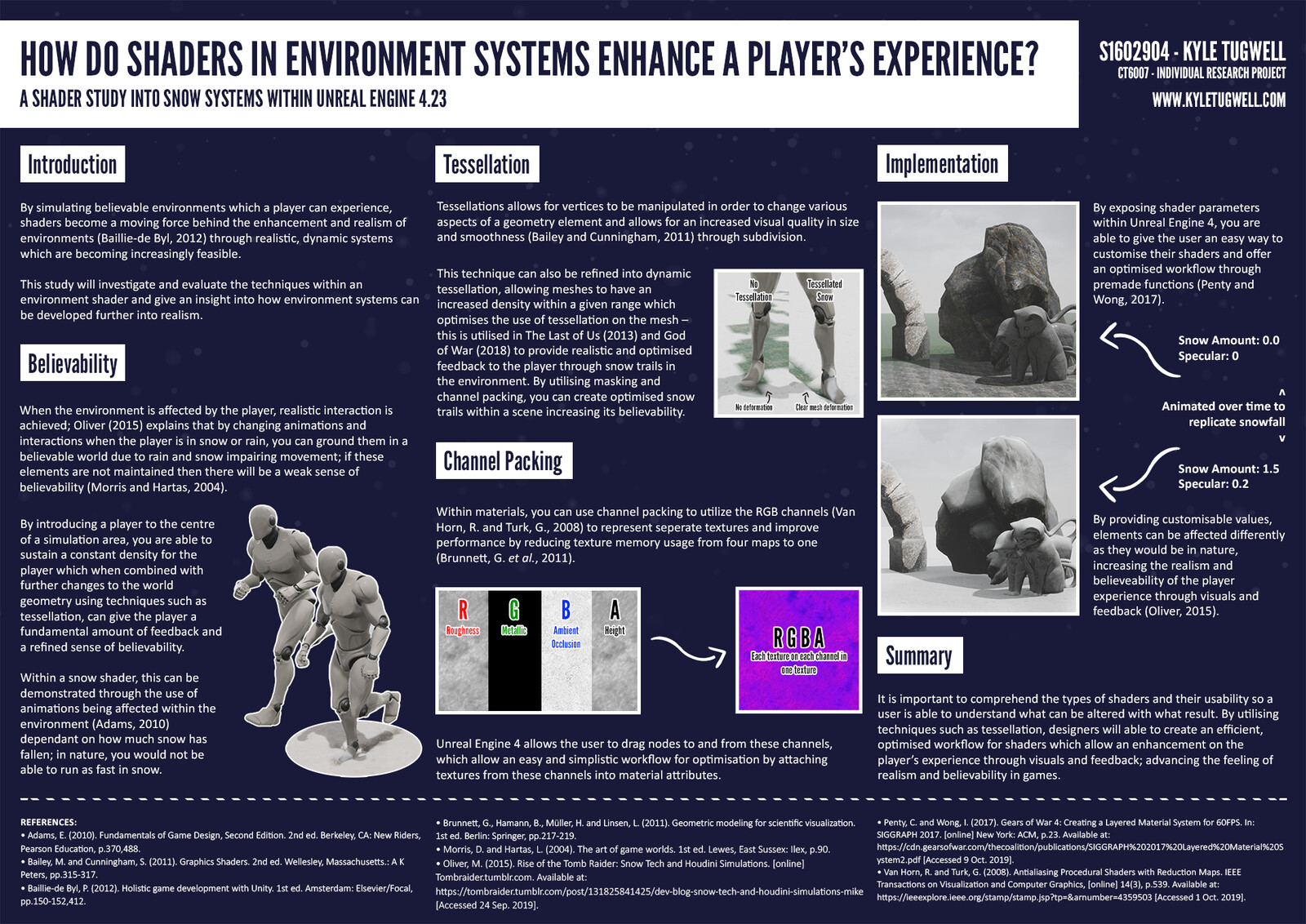 This project aims to investigate how shaders in environment systems affect the players experience; completed through Unreal Engine 4's Material system.