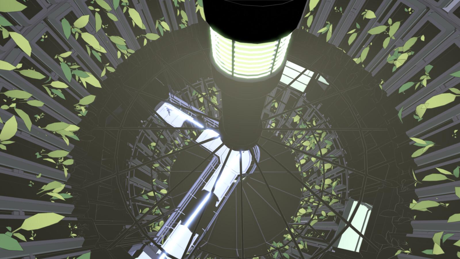 Hydroponics wheel in the plant area