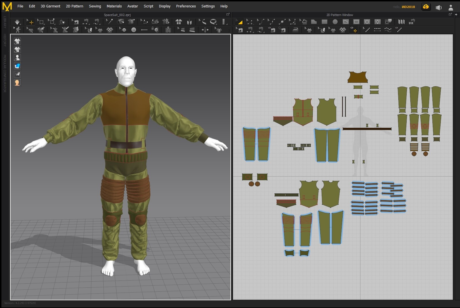 Outfit created in Marvelous designer