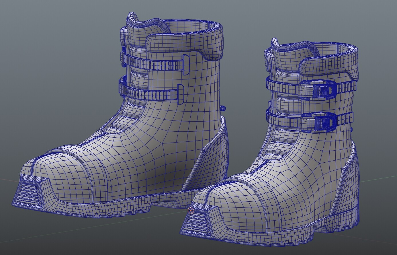 Boots modeled really fast completely in poly-modeling package (Blender)
