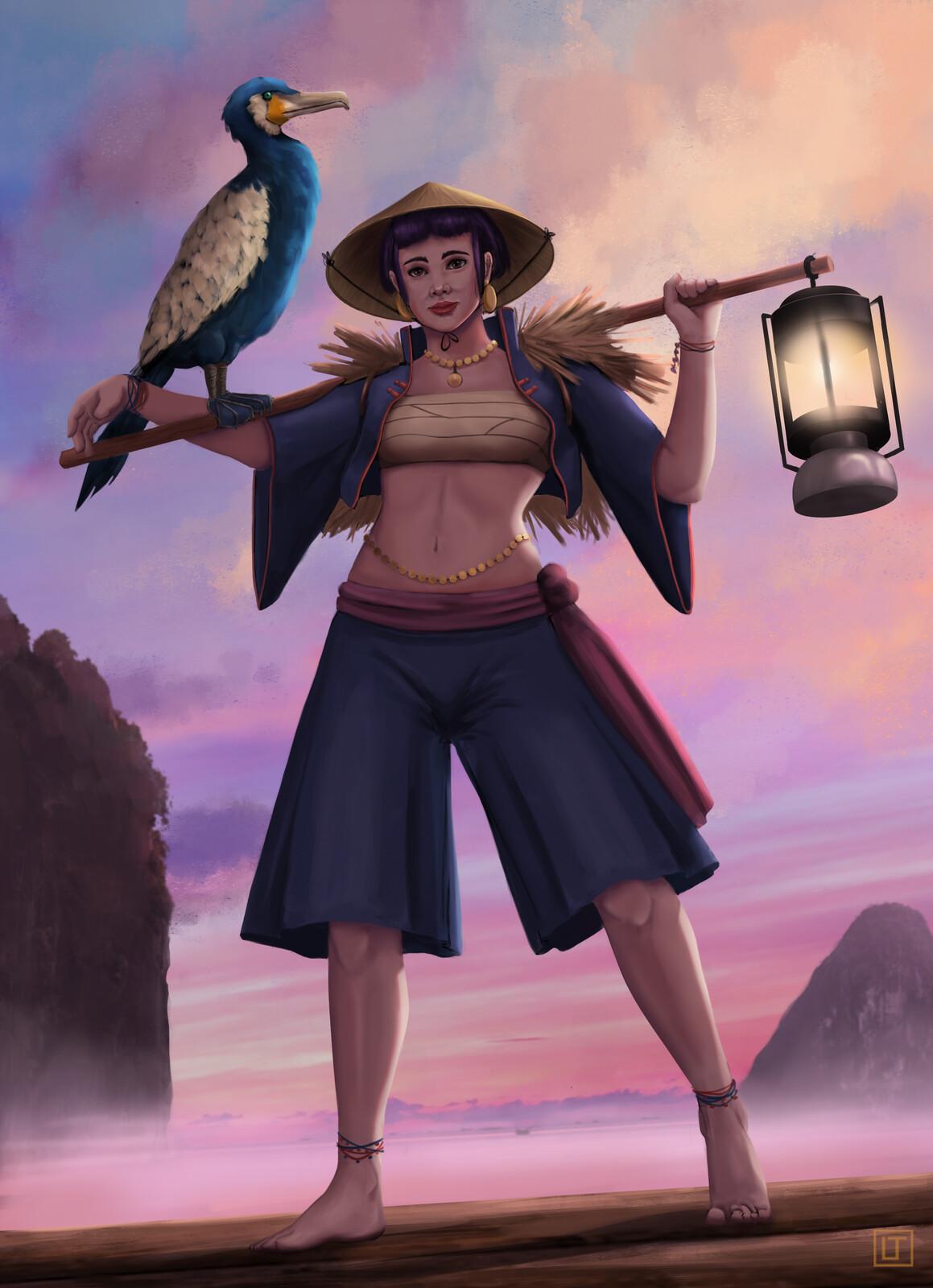 Cormorant Fisherwoman