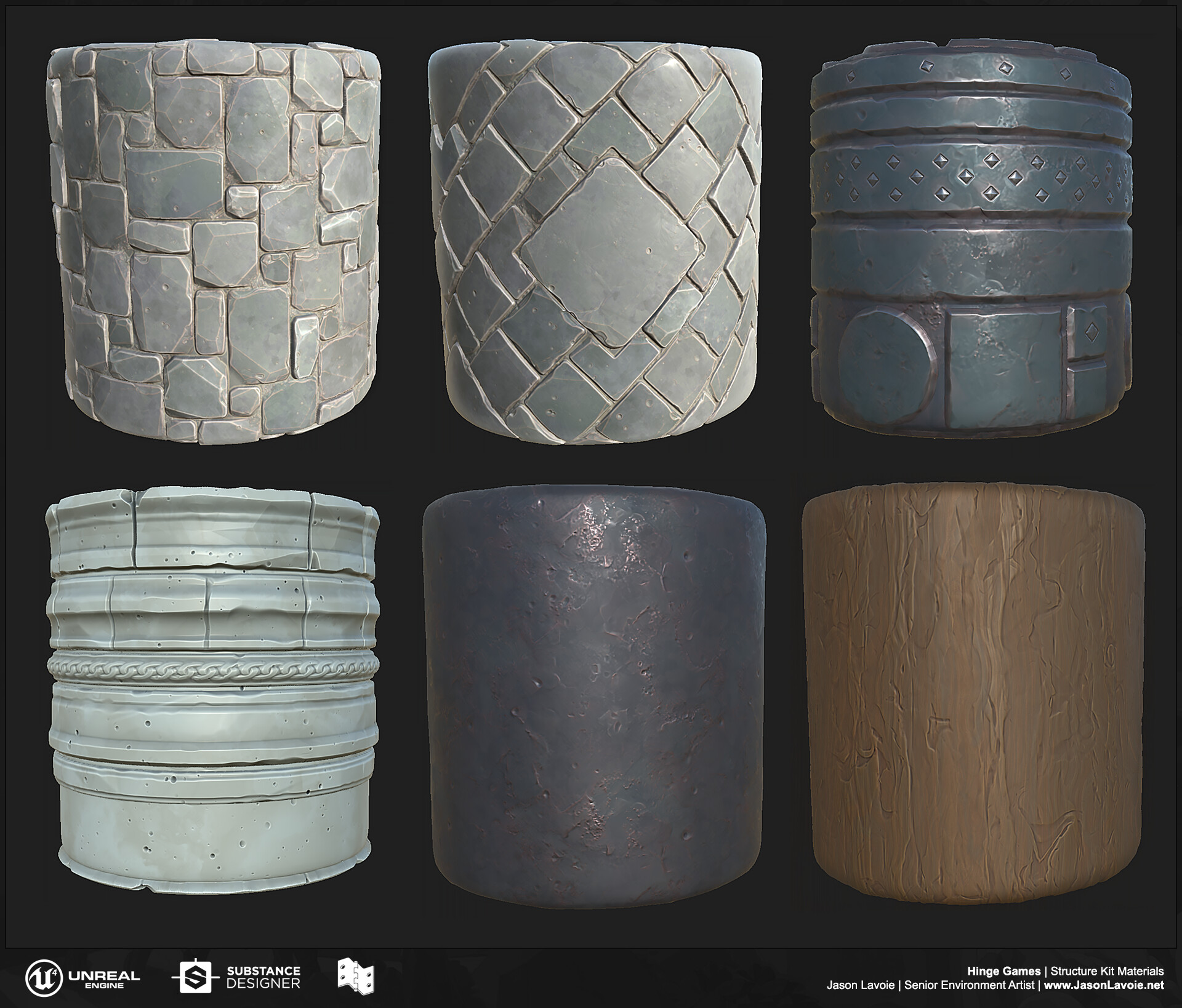 All materials were built in Substance Designer