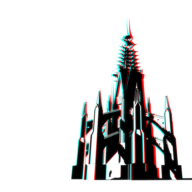 Cell shaded Gothic Castle (anaglyph 3D)