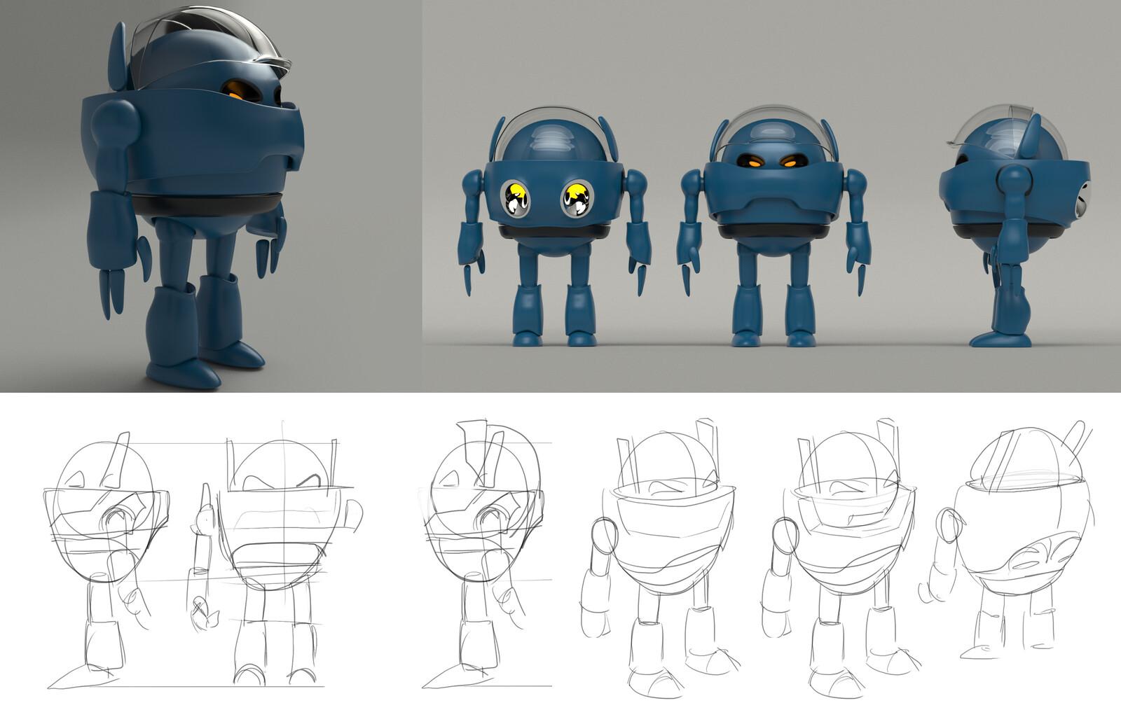 From concept to 3d poligonal modeling Concept Cartoon Robot (Own Design)