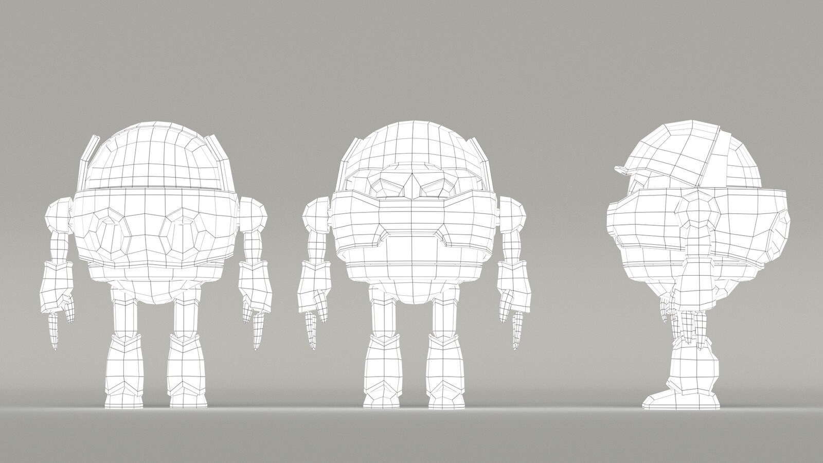 wireframe topology view Concept Cartoon Robot (Own Design)