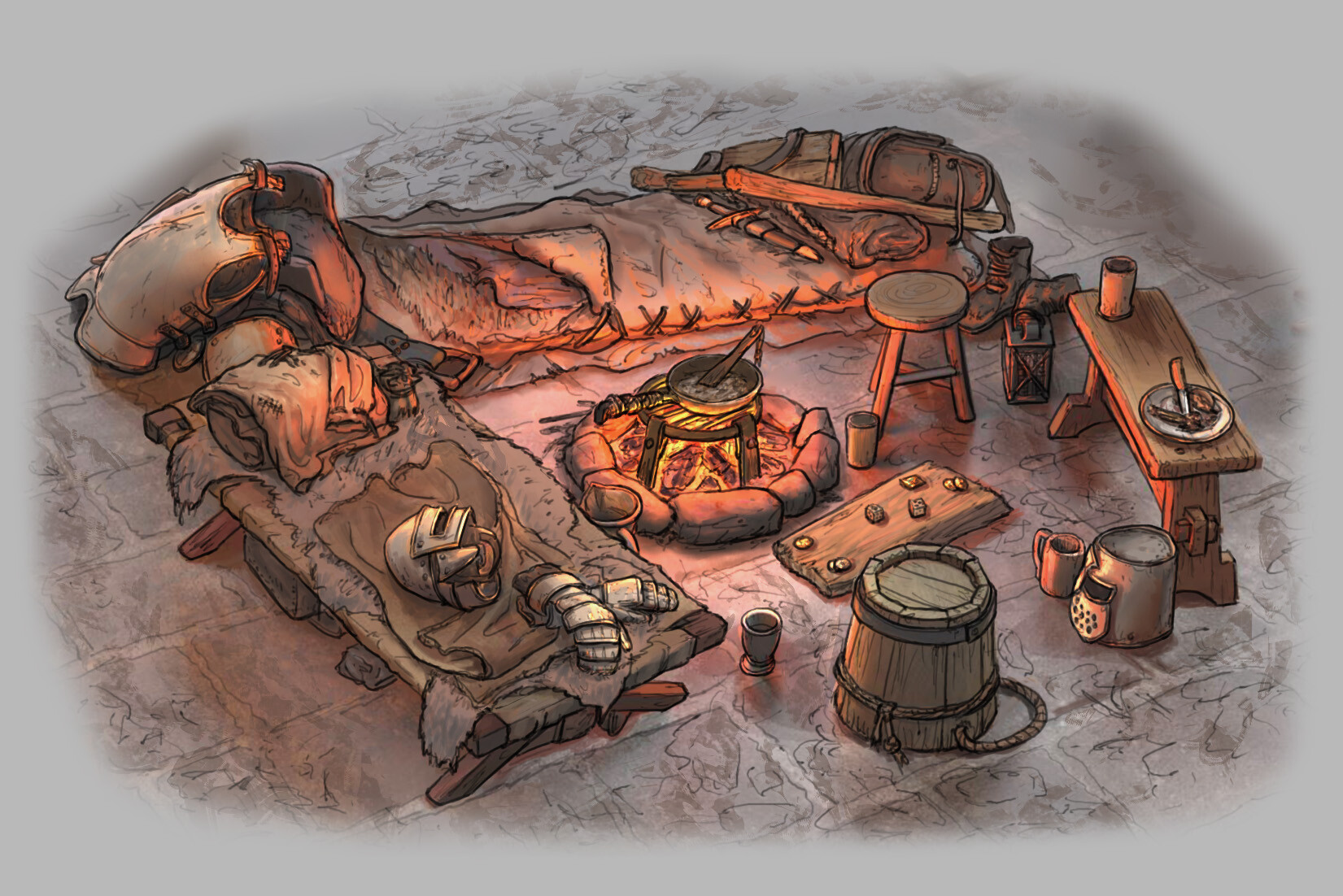 The Siege: Earl's Keep - Cooking Fire Variation 02 // Fantasy / Medieval / Props / Design (290 min)