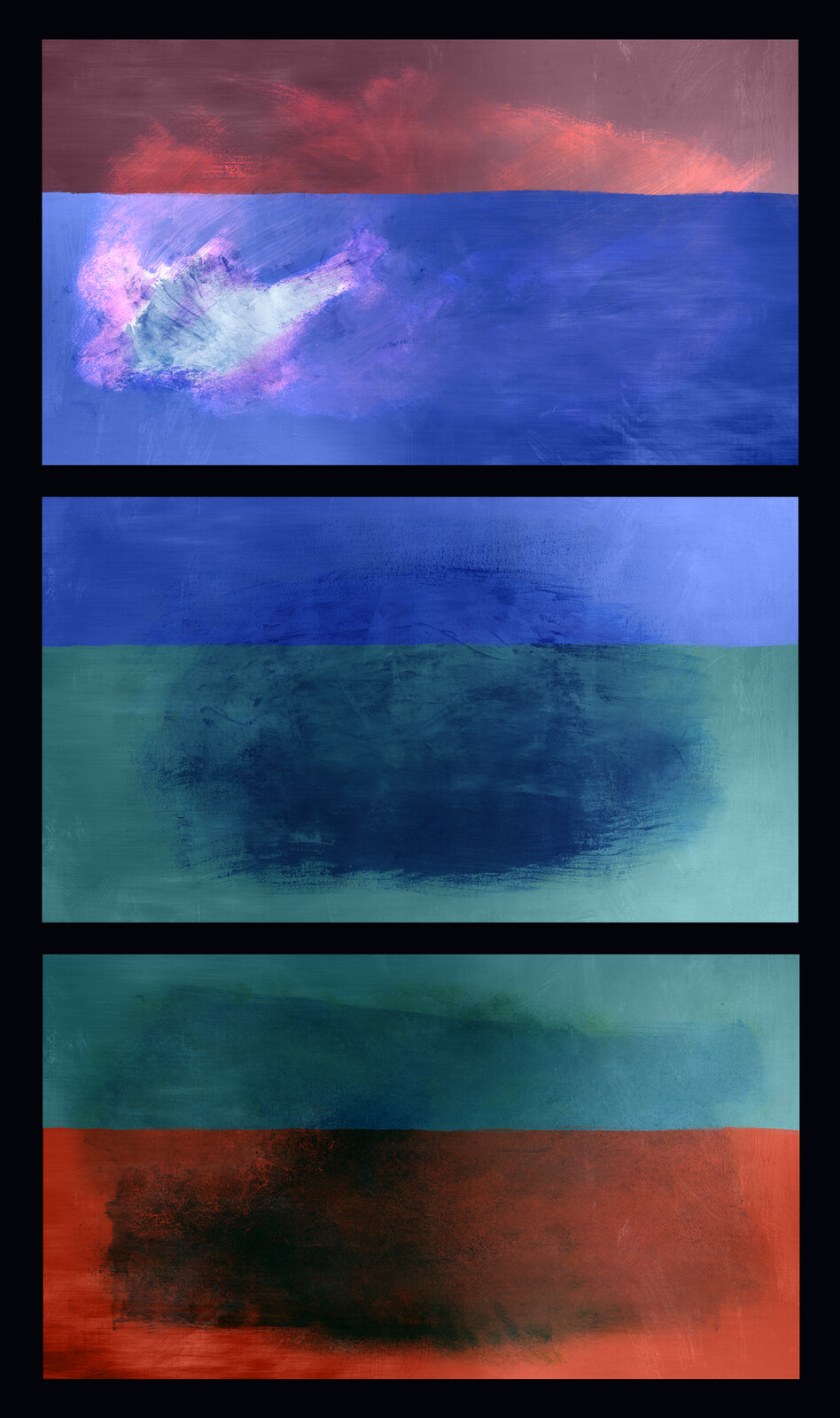 I did all the hallway paintings used in the movie. This series of 3 abstract paintings was my favorite.
