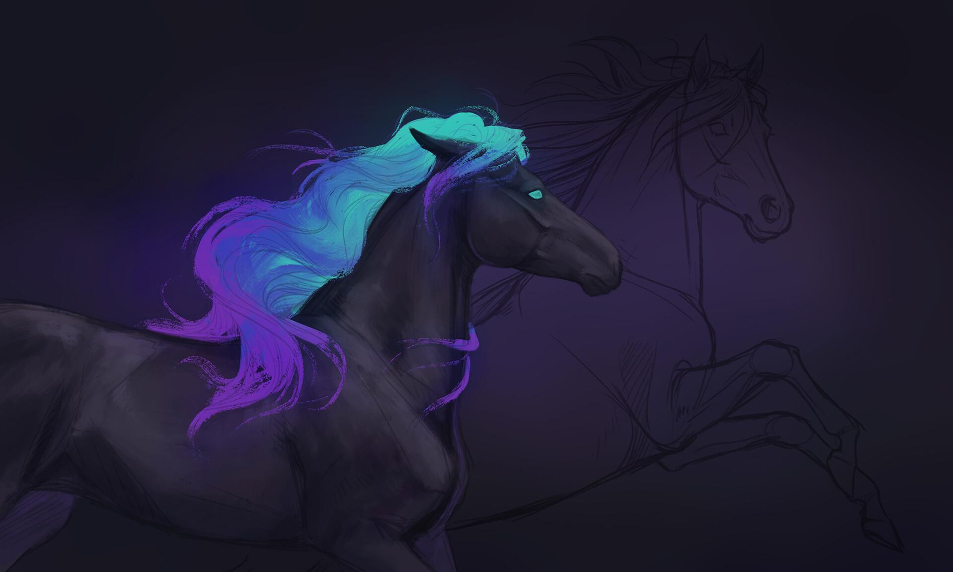 Artstation Fantasy Horse Splash Art Marlies Krale