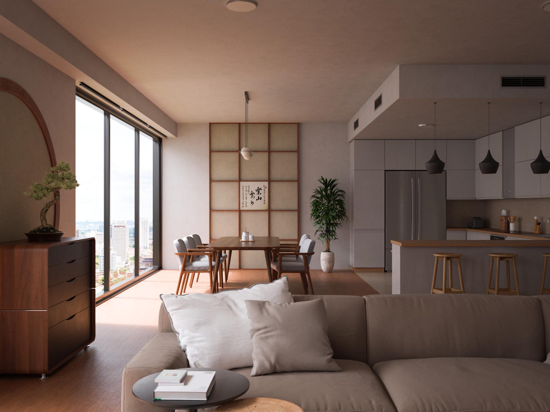 Artstation Modern Japanese Apartment Pablo Carbajo