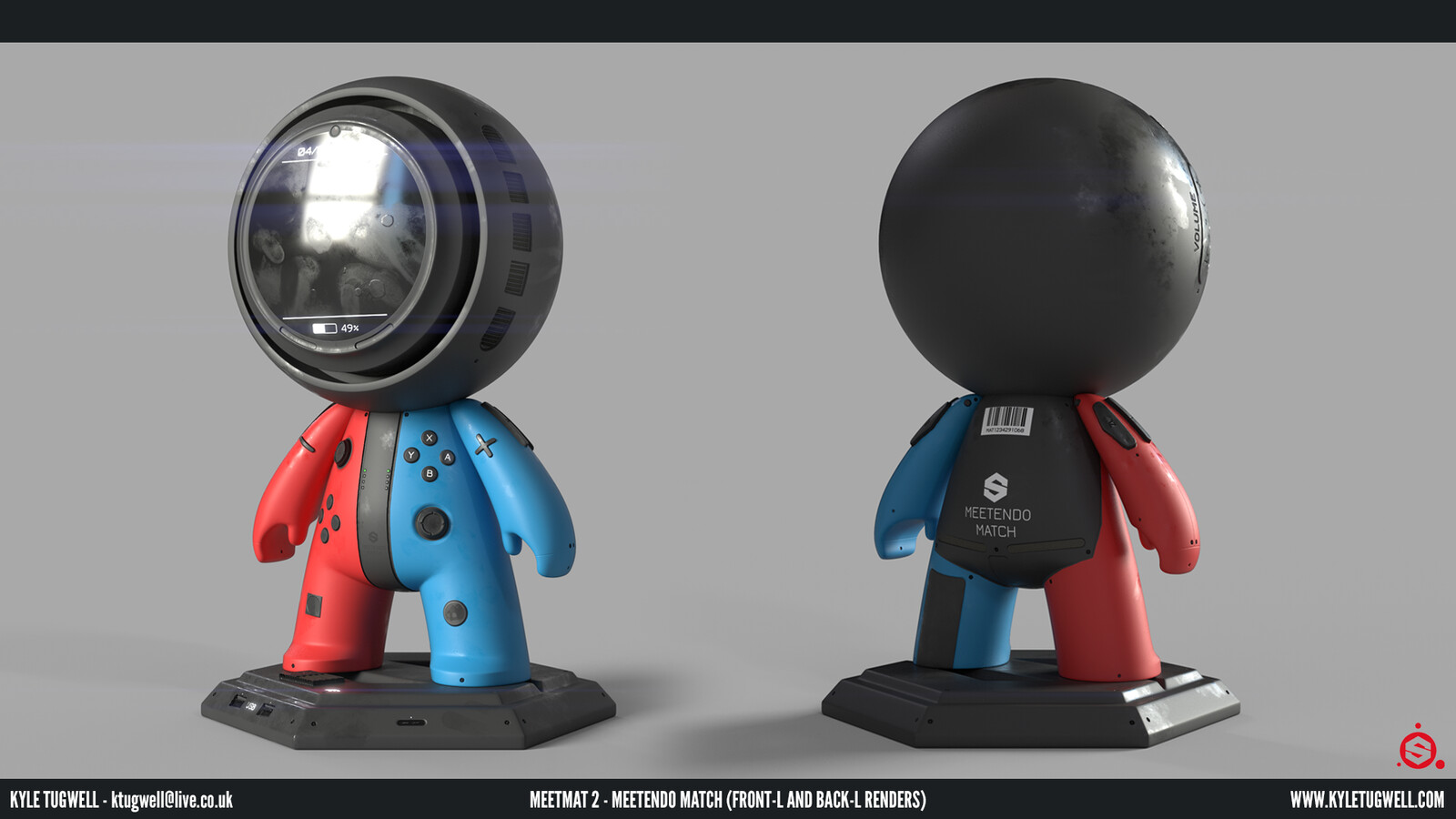 A front and back angled render; with these you can see the details in the displacement, normals and roughness easily.
