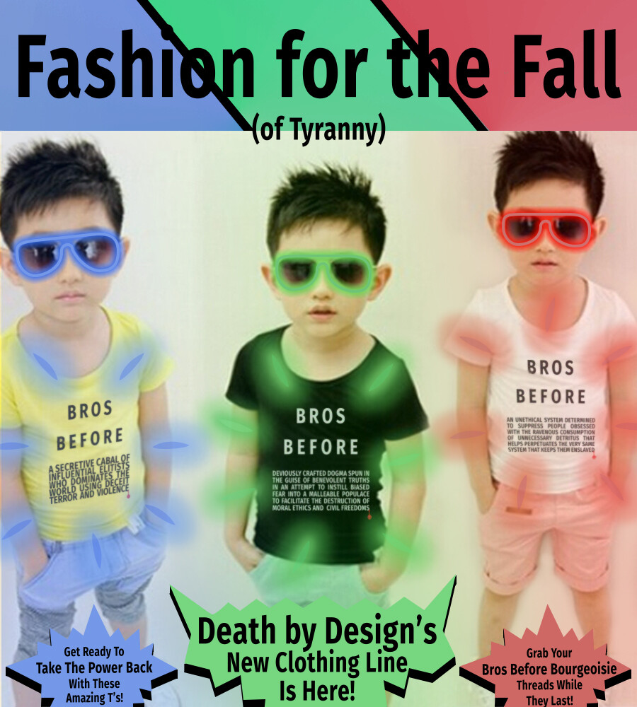 The very first Death by Design BBB shirt advert