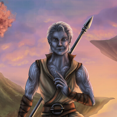 Christian hadfield air genasi monk by christian hadfield lowrez dnd character art portrait fanart criticalrole