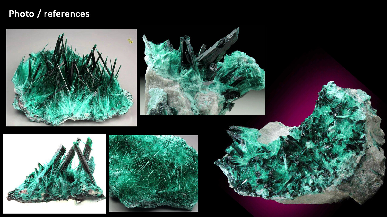 Fibrous Malachite Mineral : Photo References / Was important to identidy the key features of this mineral and develop a procedural setup around them.