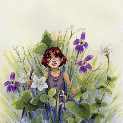 Becca hillburn kara in grass watercolor sized for web