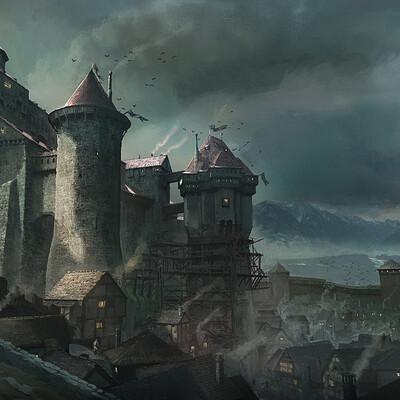 Francis goeltner thesiege scene01 castle town painterly sig m