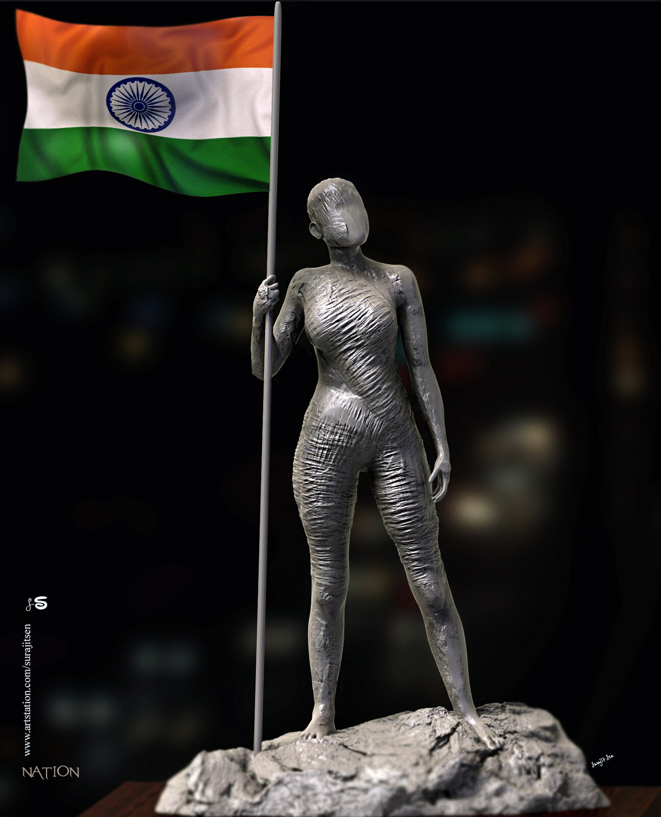 Happy #republic day of India Nation... Digital Sculpture. Tried to make a form of my thoughts...