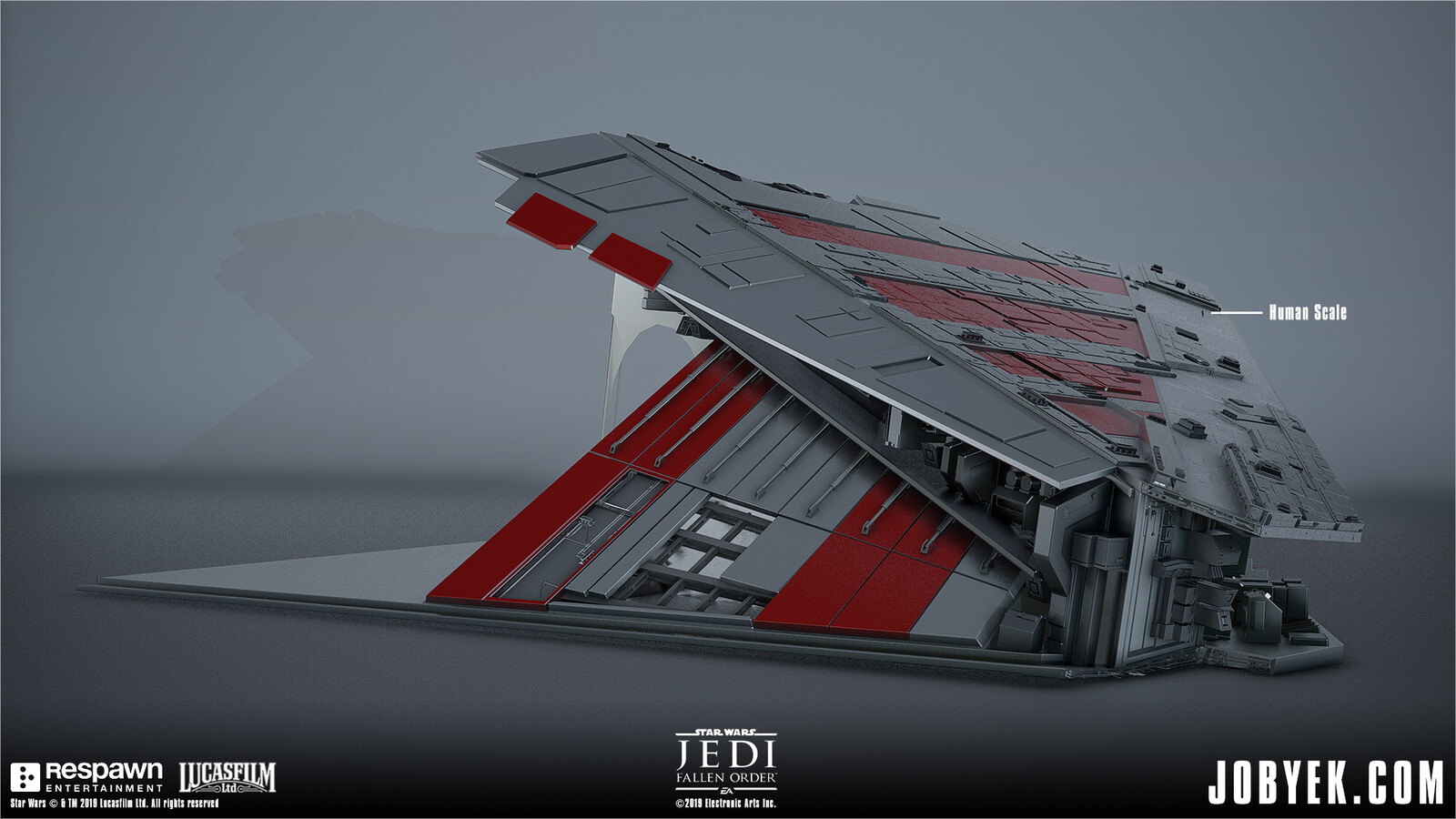 Modeling work on Venator Wing that is used and navigated on throughout the level. This was supplemented by smaller modular panels and such for added detail in-engine. Initial base model from DICE.