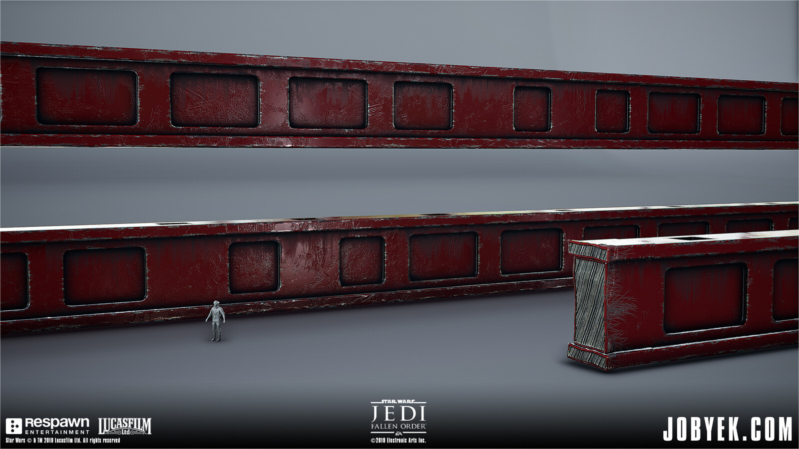 Model & Texture work (approximation of layered mask look) on very large Main Venator Support beams