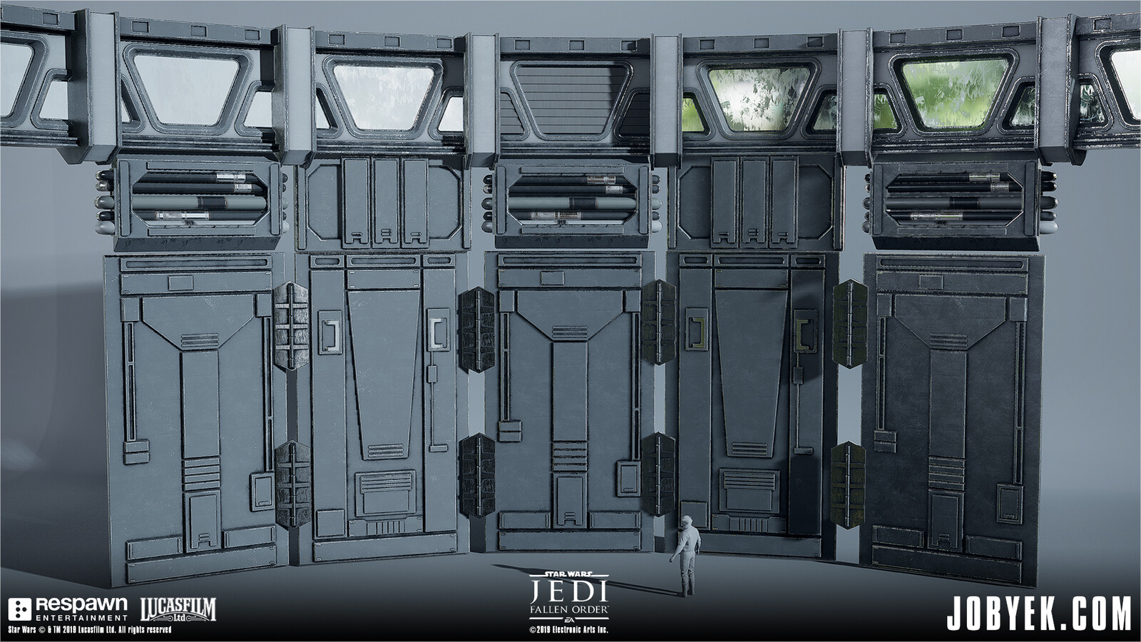 Portion of Imperial Walls/Windows modular set, all using face-weighted normals workflow
