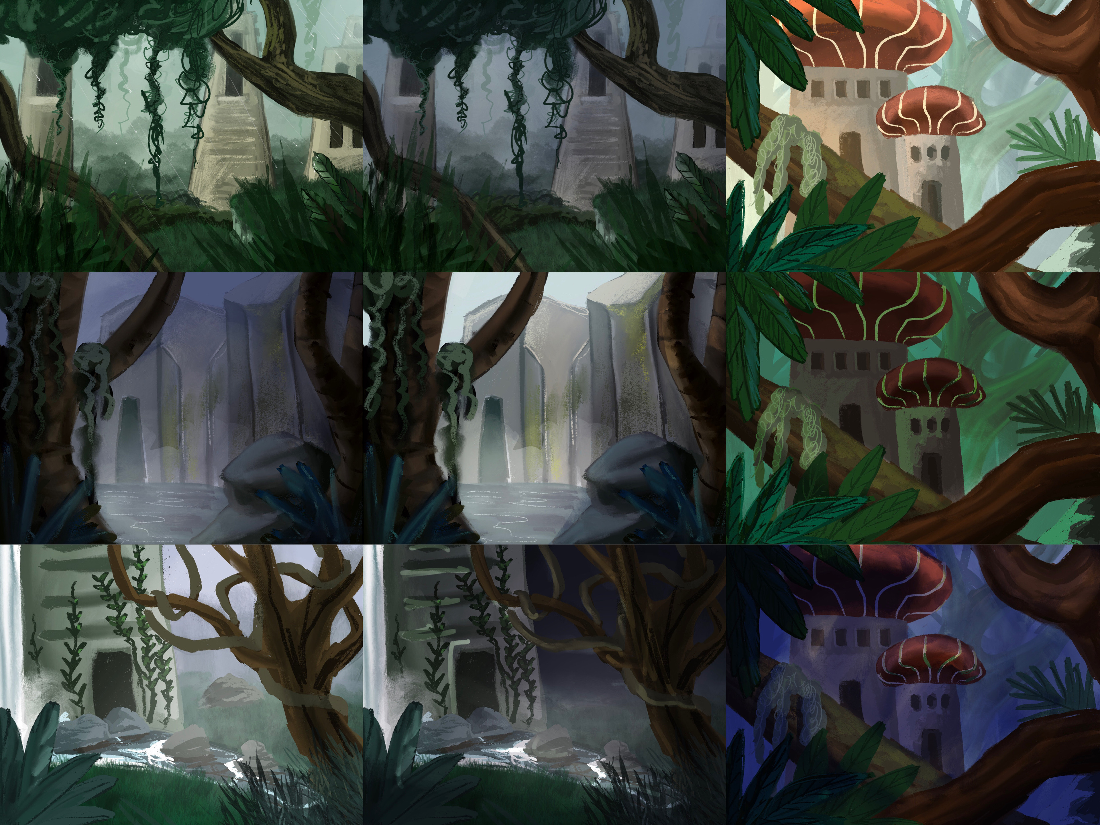 Color compositions based on the chosen thumbnails (I ended up cutting the first one)
