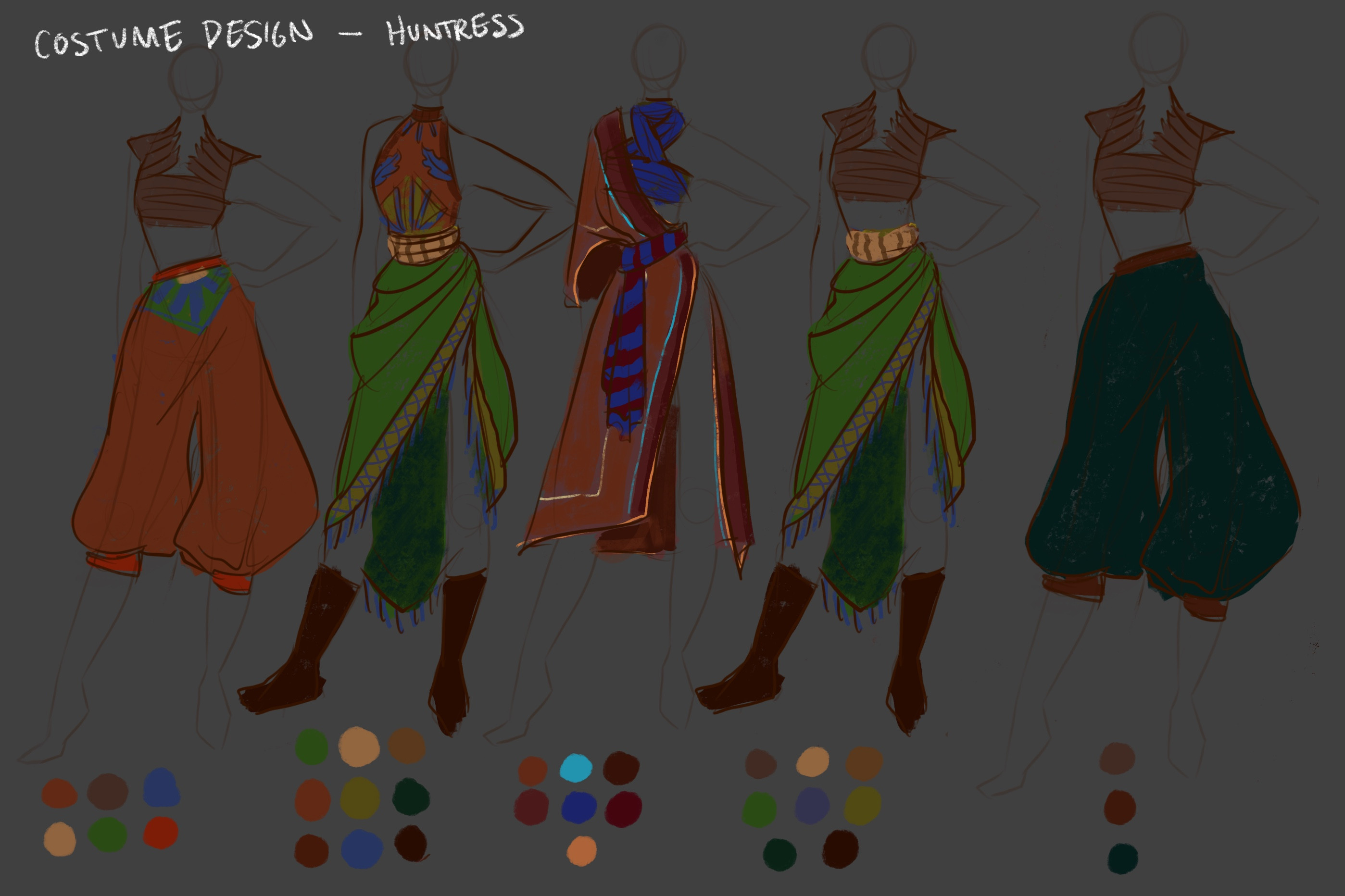 Early concepts for the hero's clothing!