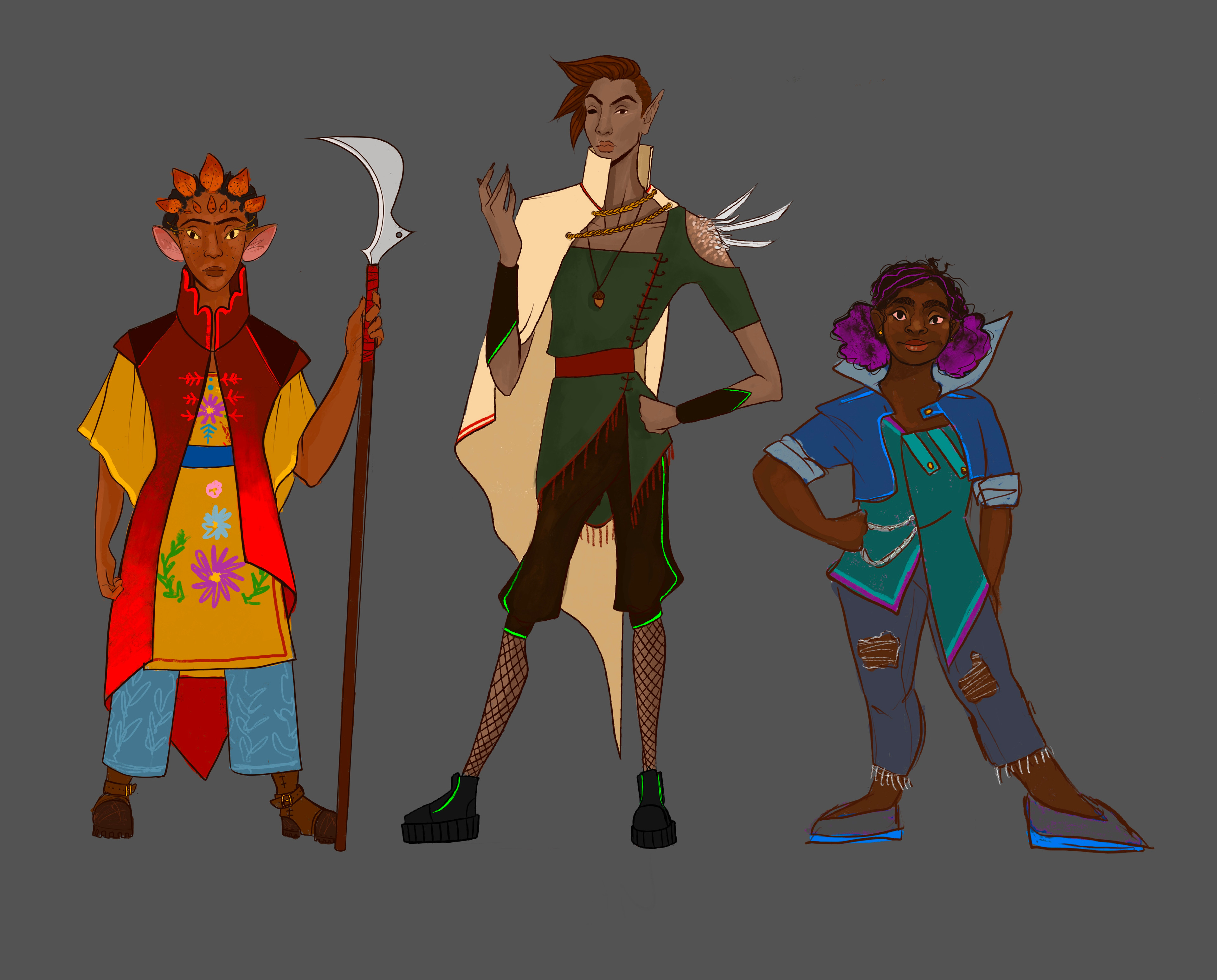 Lineup of the three character designs!