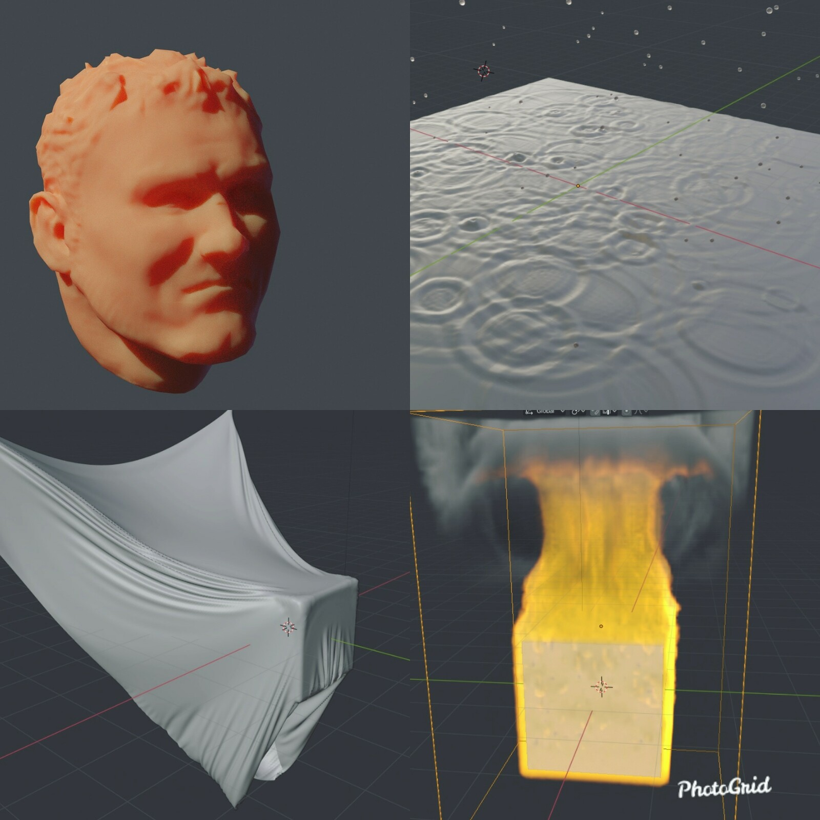 Playing around with Blender 3D's sculpting/normalmapping and physics tools.
