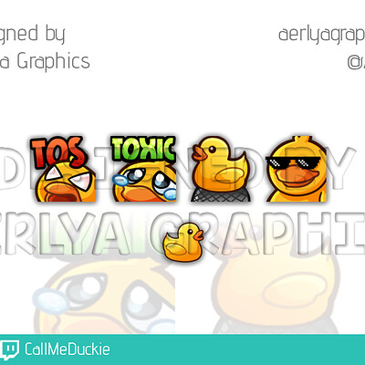 Aerlya graphics sample emotes and subbadge callmeduckie