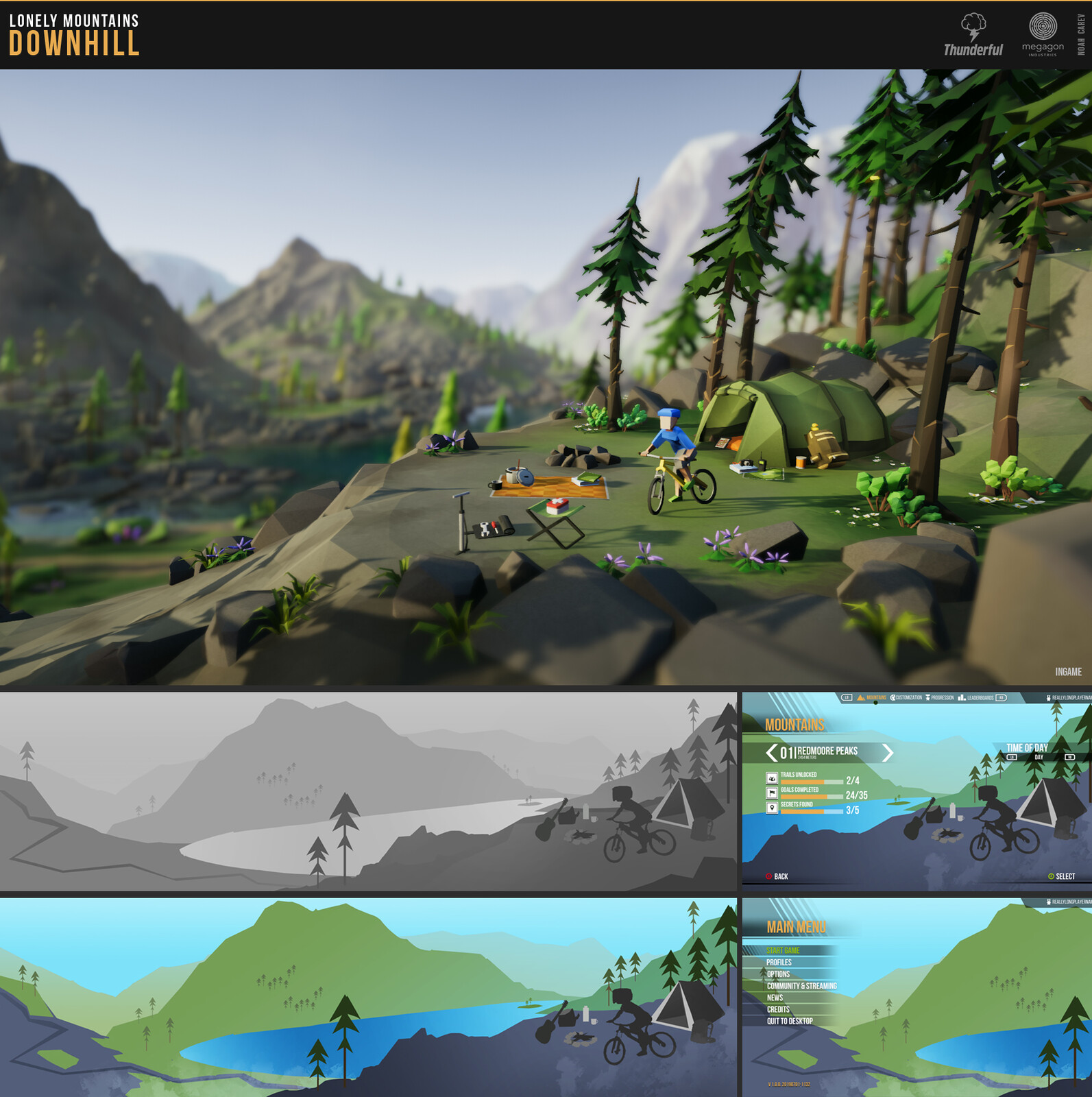 "Concepts and decorated final menu scene for ""Mount Riley"". Wild forest mountain with different faces."