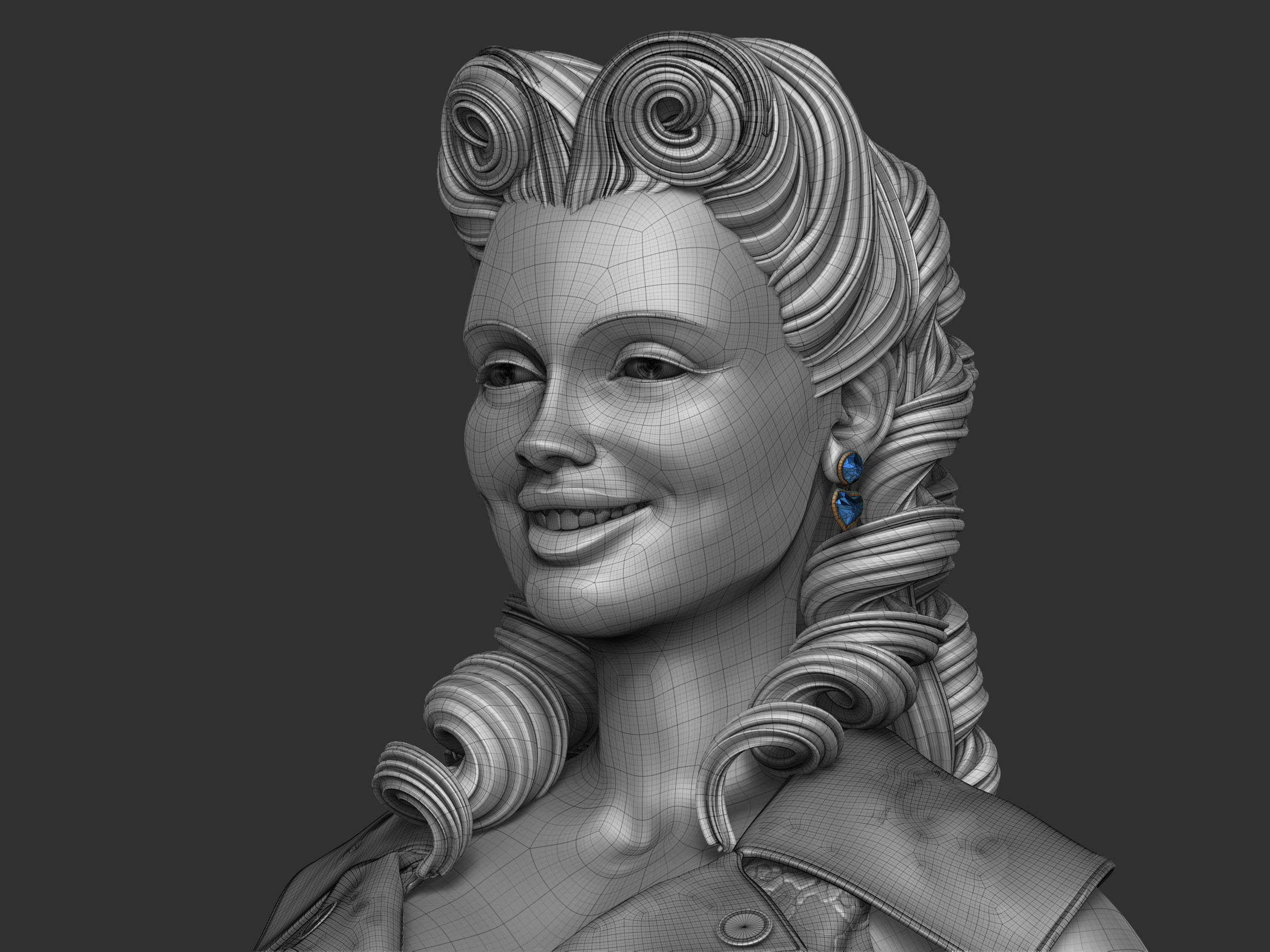 Layers on Zbrush were used to do the smiling or serious pose.