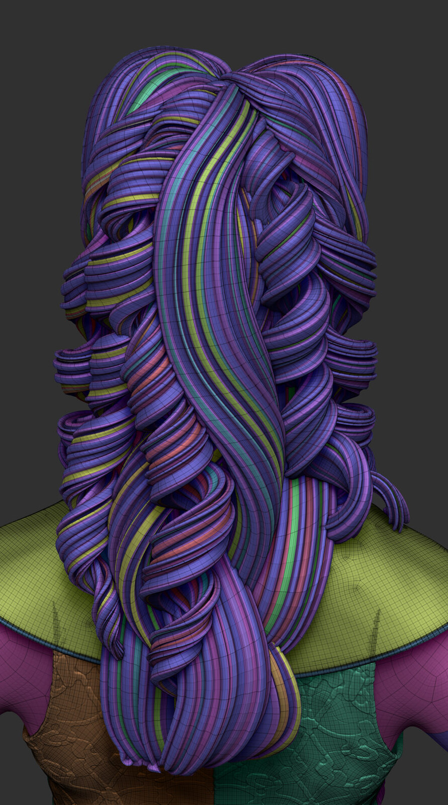 Curve brushes to do the hair are key to a nice polygrouping, unwrapping and painting. In this case I extruded certain loops to reach the volume effect.