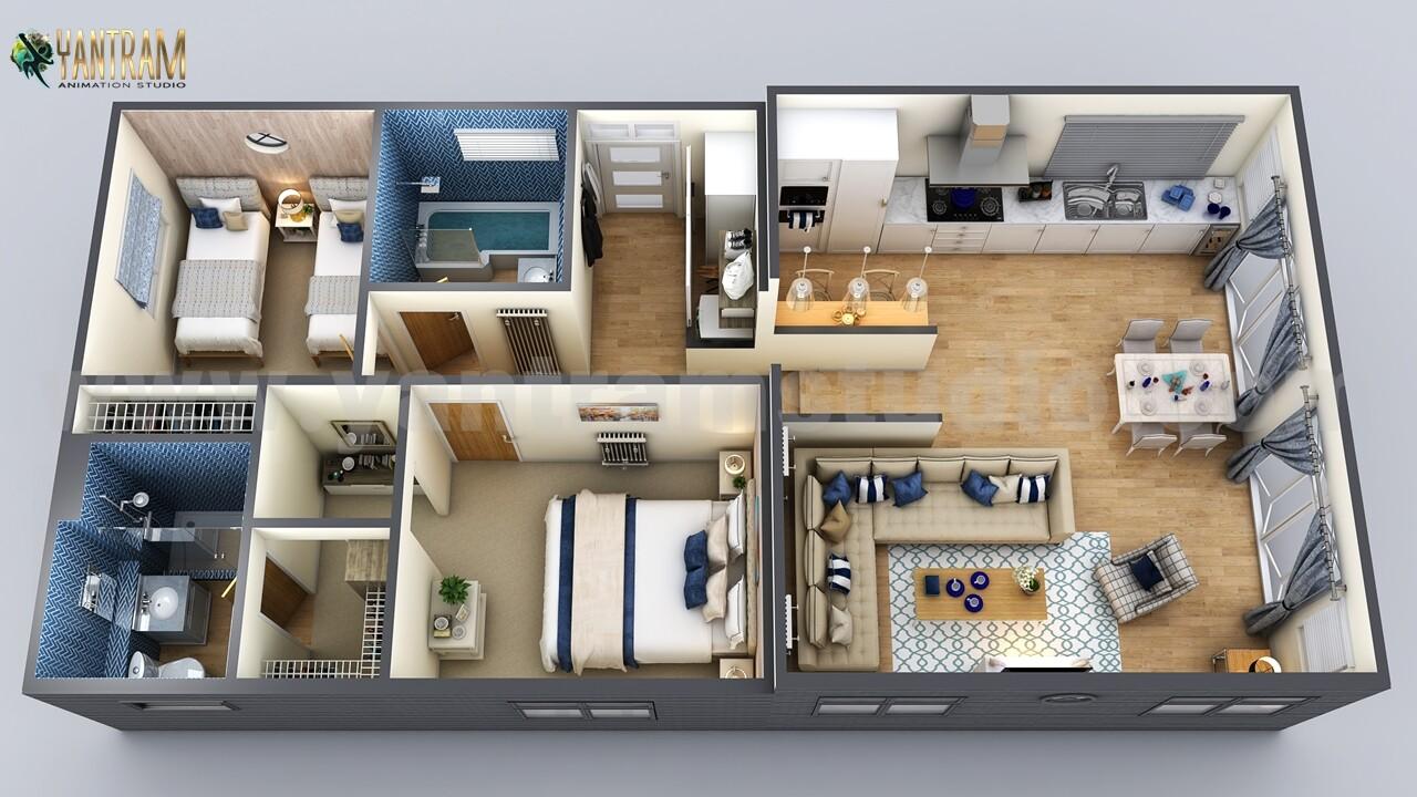 ArtStation - Modern Small Home Design 3D Floor Plan by ...