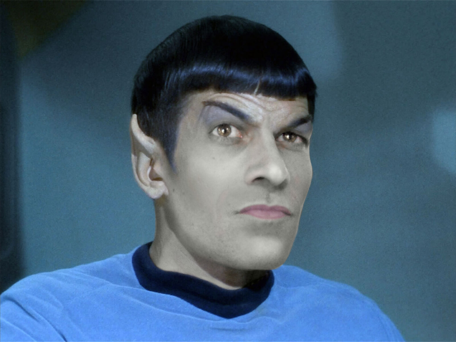 My face blended with Spock's face.