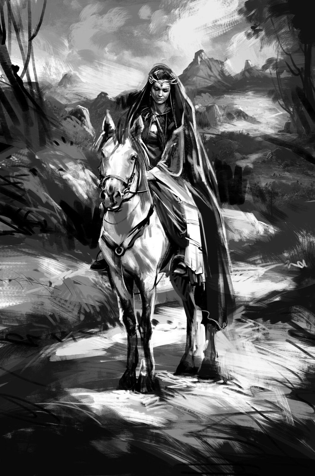 lady with horse b&w
