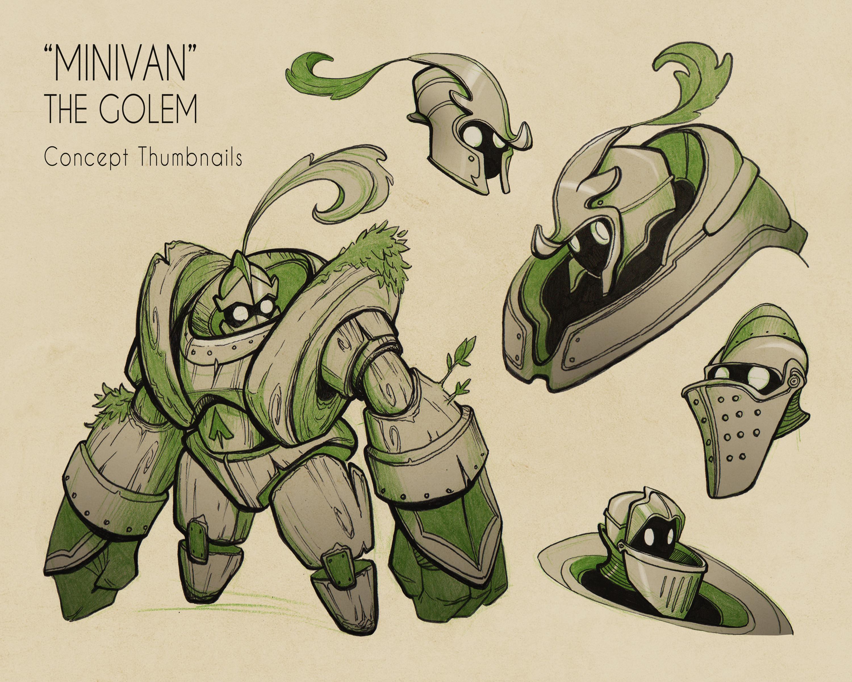 """Concept thumbnails for """"Minivan"""" the golem, part 1, 2019"""