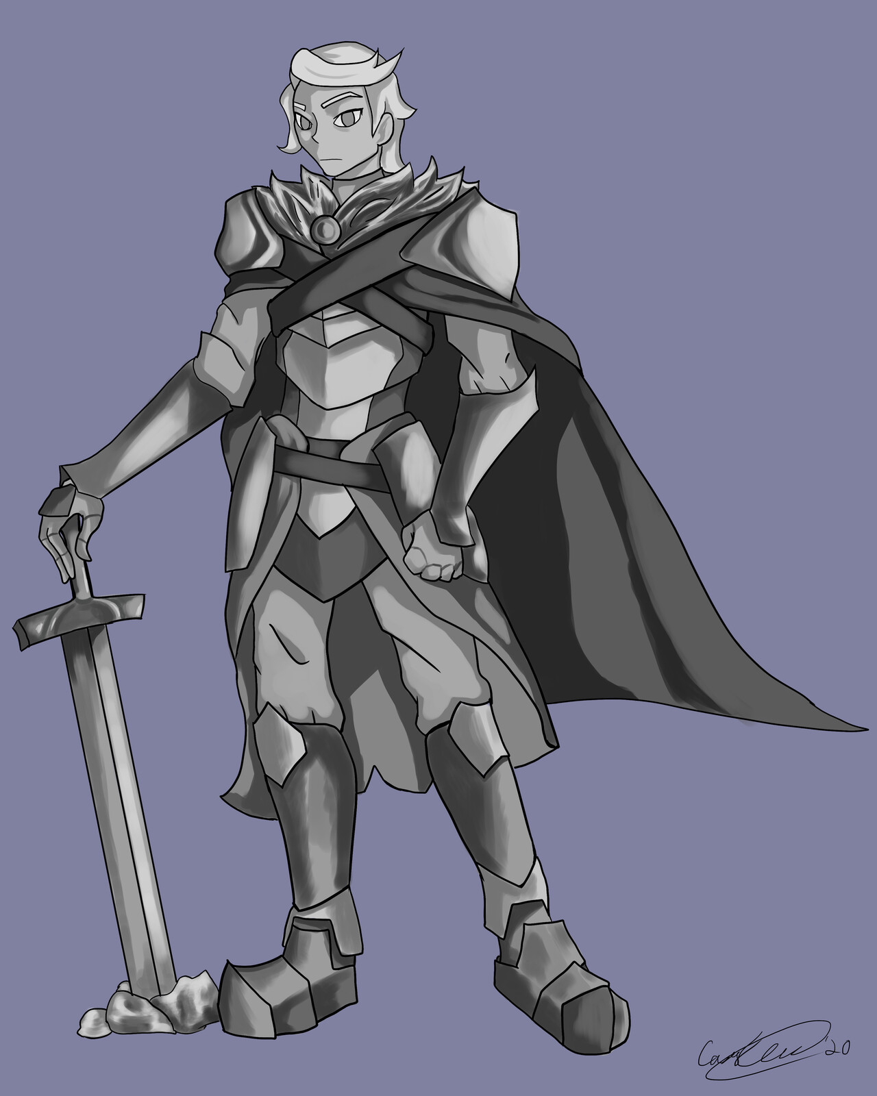 Before I color, I make a grayscale rendering of the desired version.