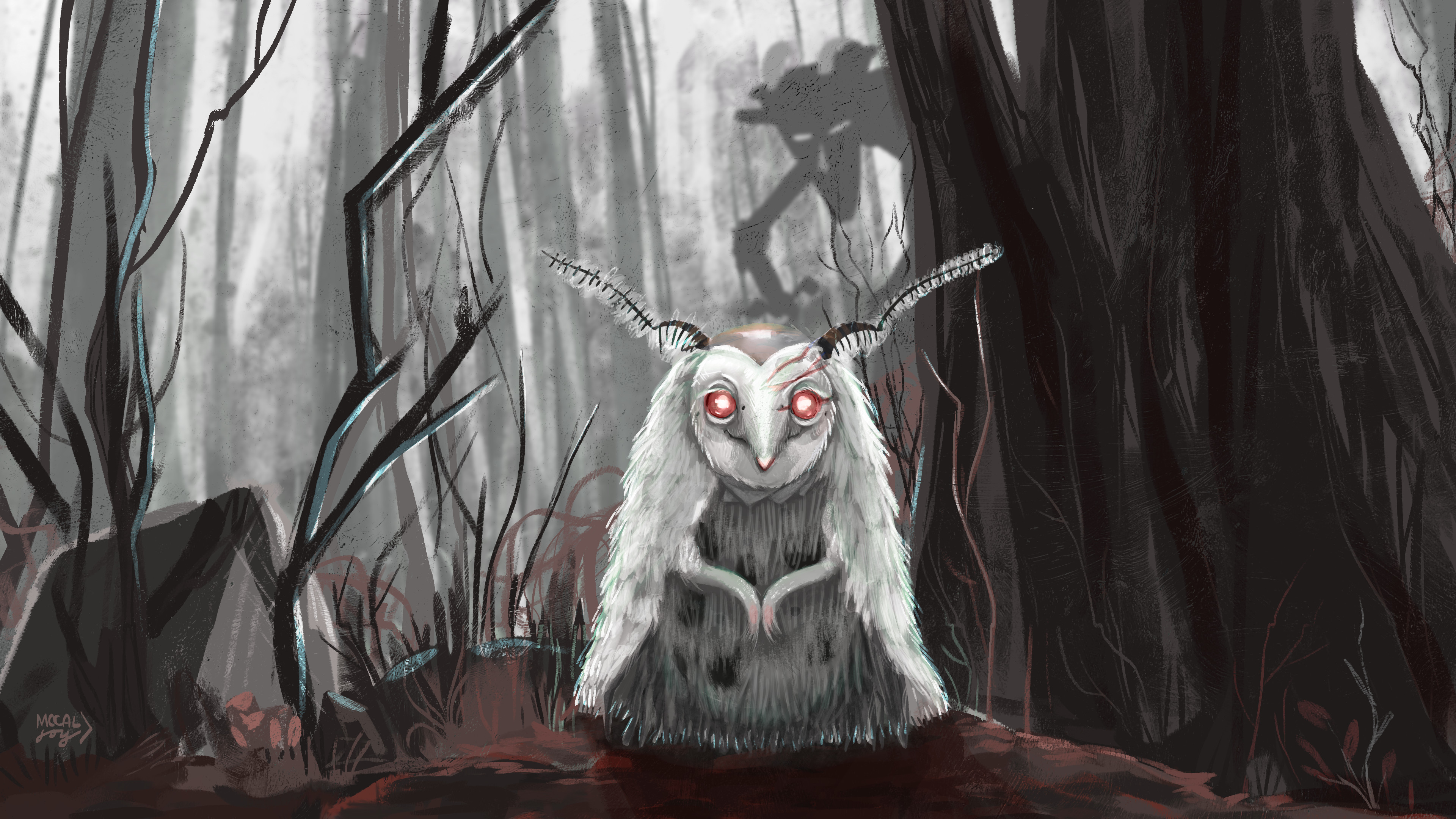 Creature 01, or Poo, as I've been calling her. Painted into her forest realm where she was born out of.