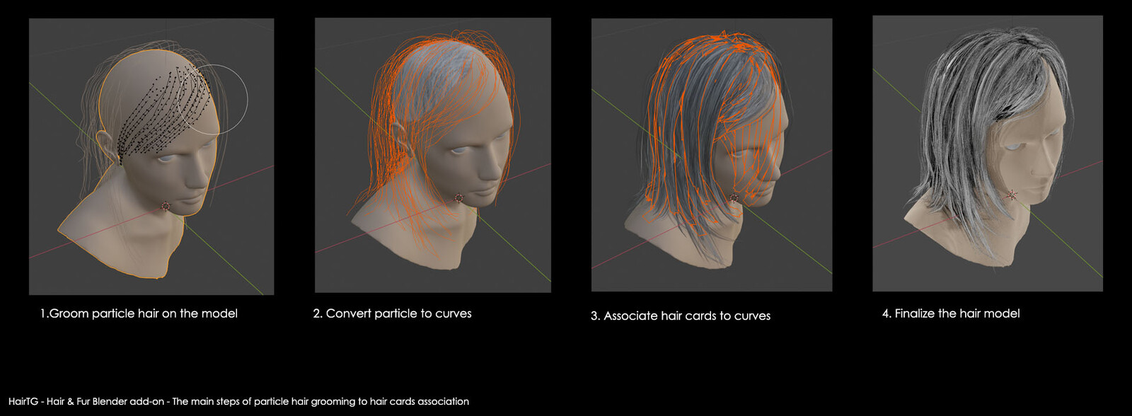 Blender add-on: the main steps of associating hair cards to particle hair grooming