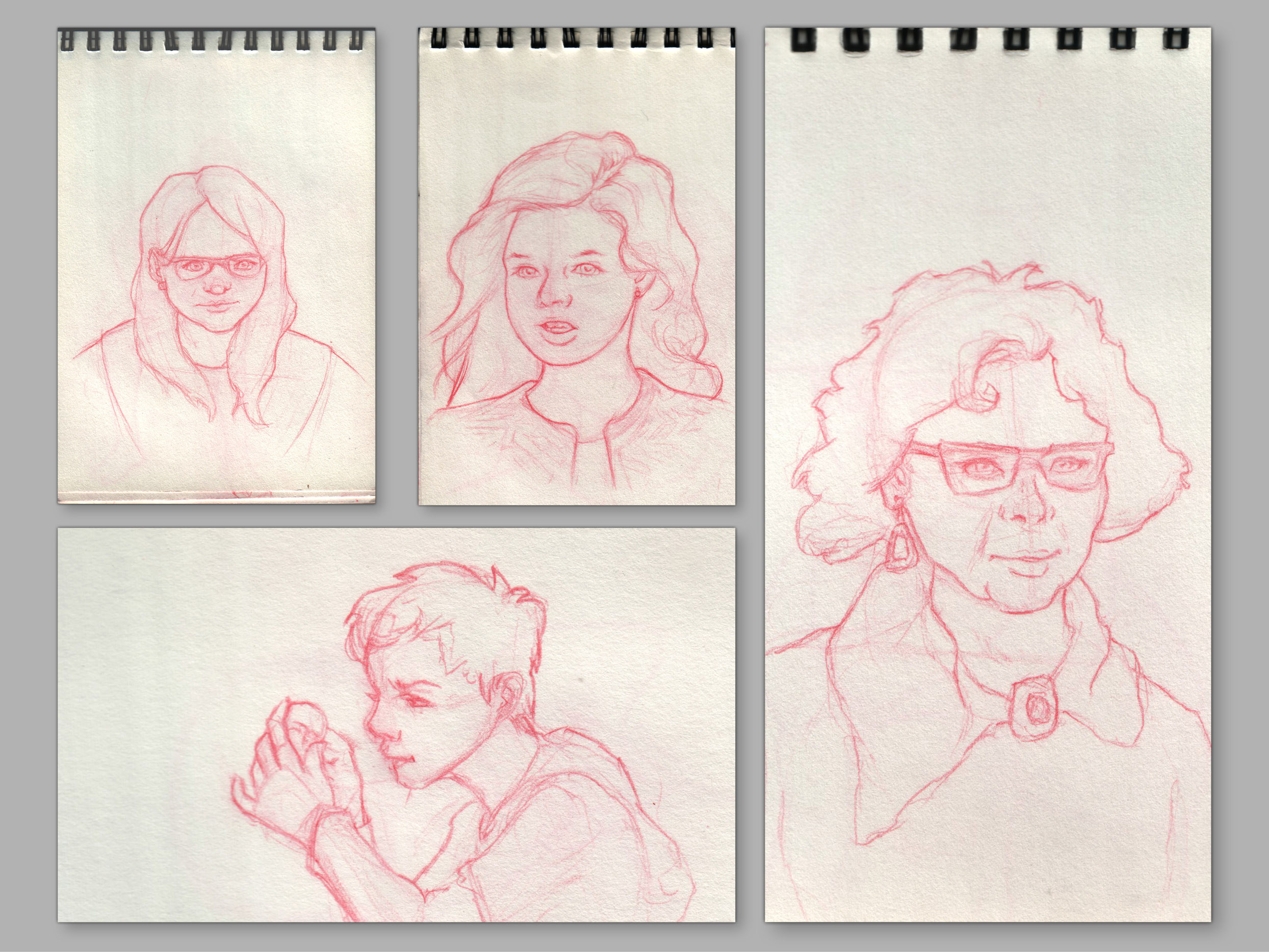 Sketches from live models in pubs. Traditional, red pencil.