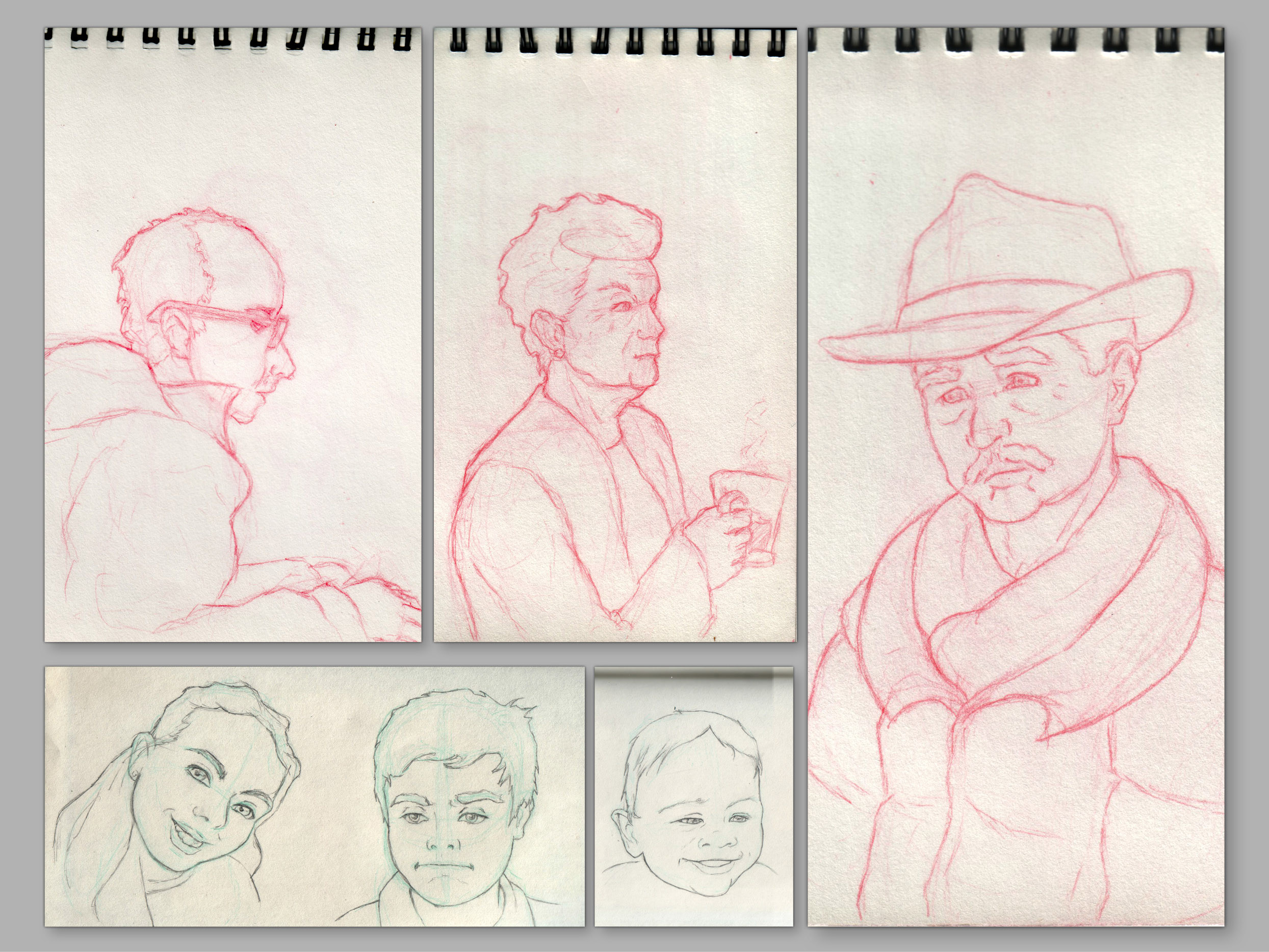 Red Sketches from live models in pubs. Traditional, red pencil.  Blue sketches from photo models.