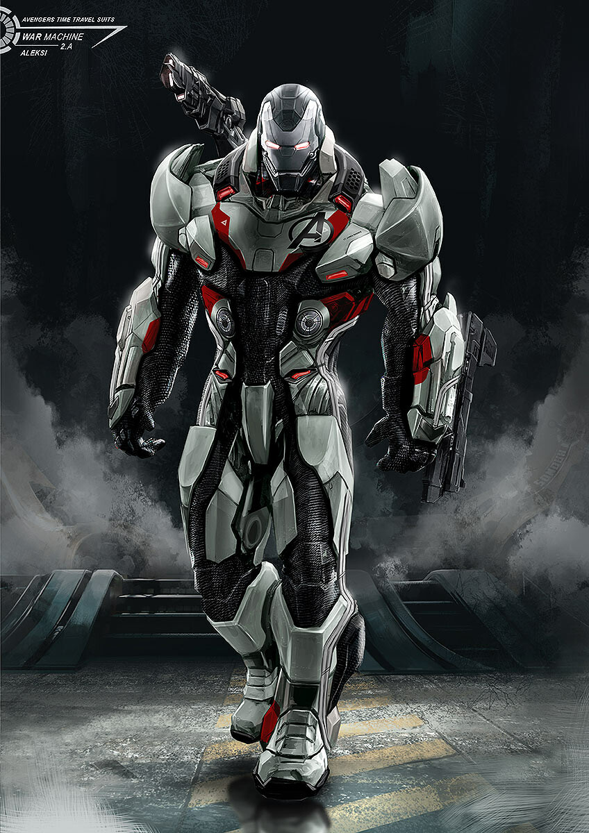 """Final proposal. Applying the same """"suit"""" or here color scheme and patterns on top of the Armored War Machine. Keeping the overall structure of war machine and adding some few elements from the suits."""