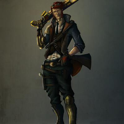 Bamba matondo steampunk hero concept art