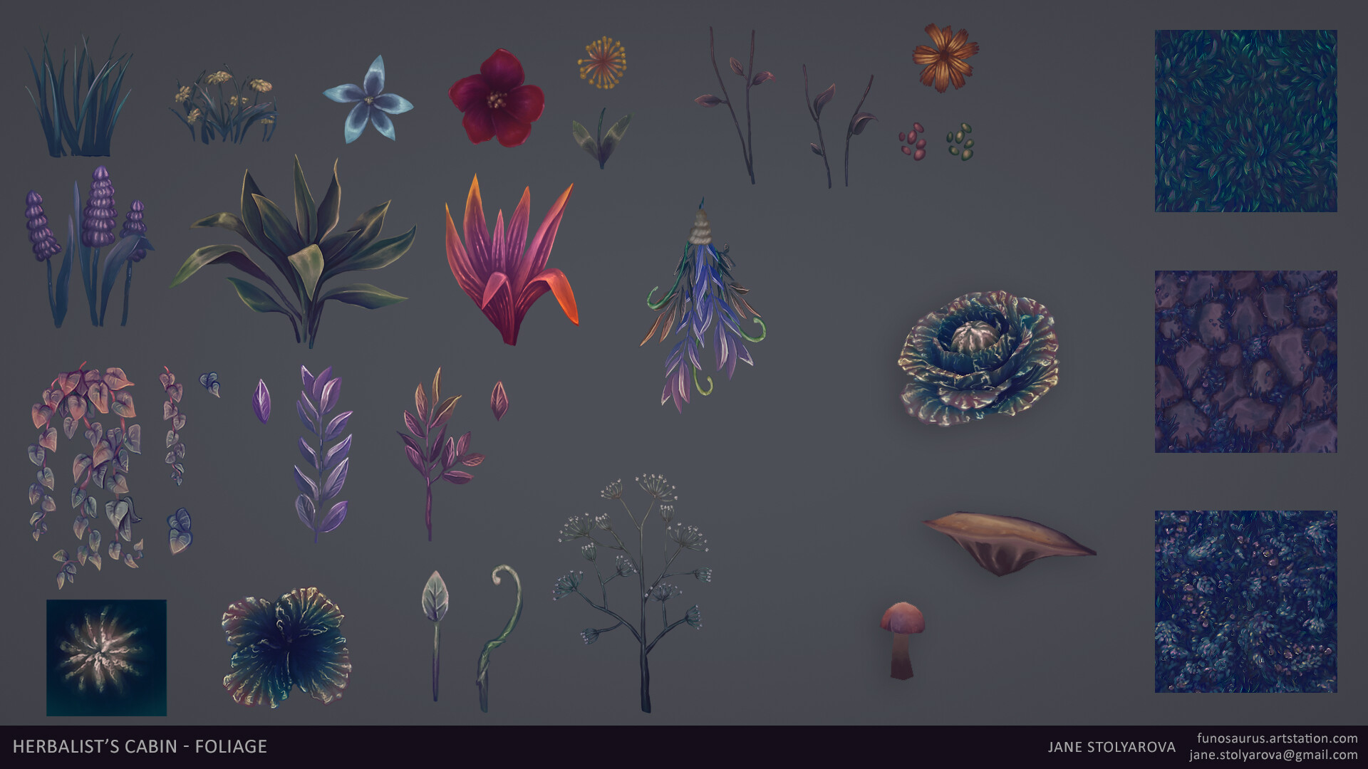 I spent a lot of time painting all the various foliage since they're such a key part of the scene.