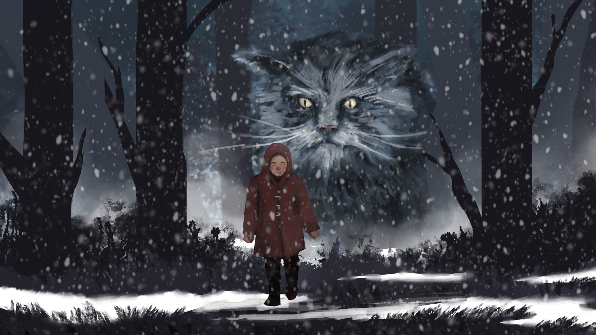 Concept art by Samuel Allan for the PBS rendition of traditional Icelandic folklore - The Yule Cat.