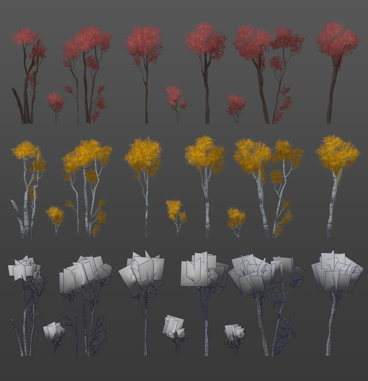 Tree assets wireframe
