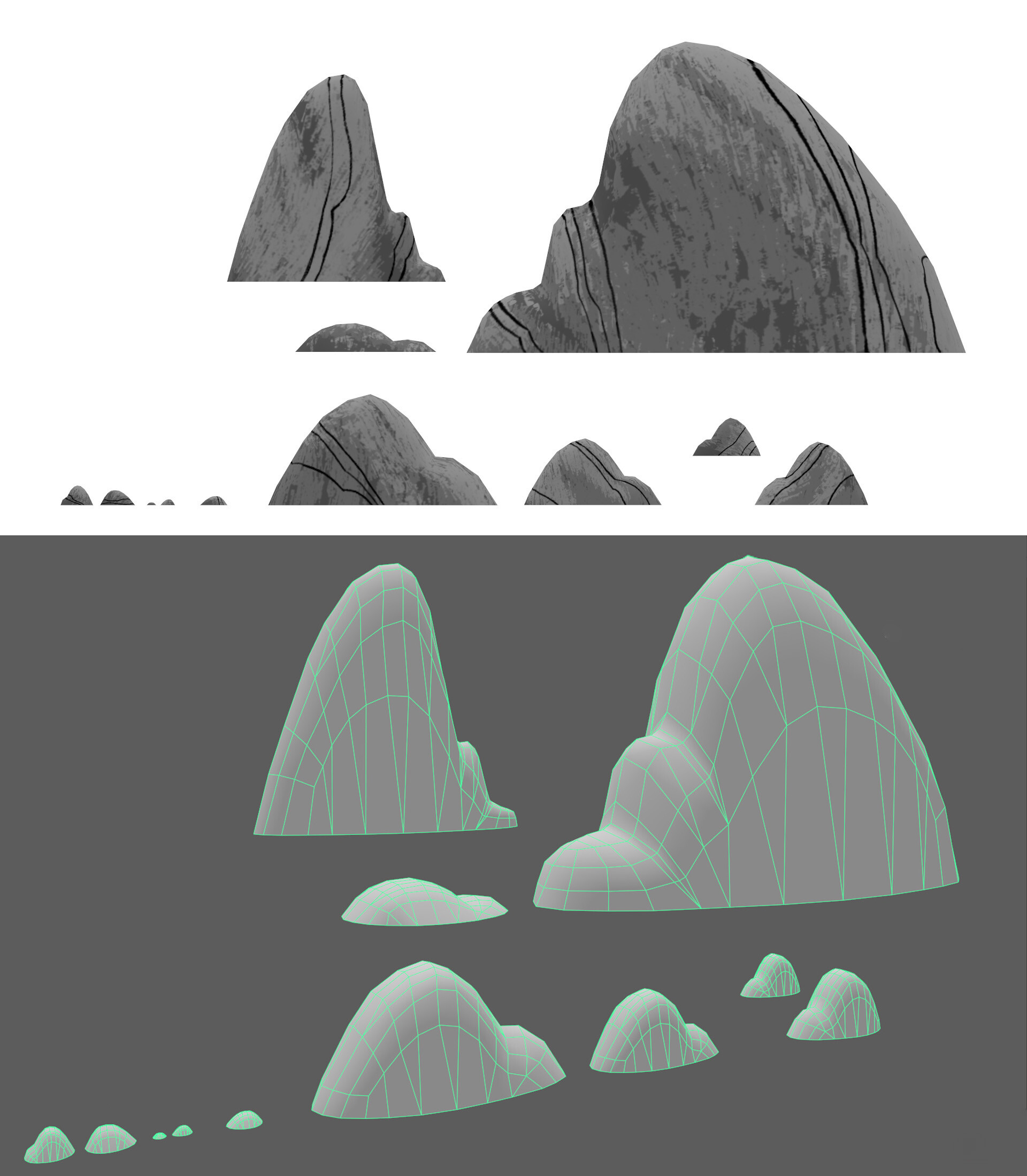 Flat render and wireframe of rocks