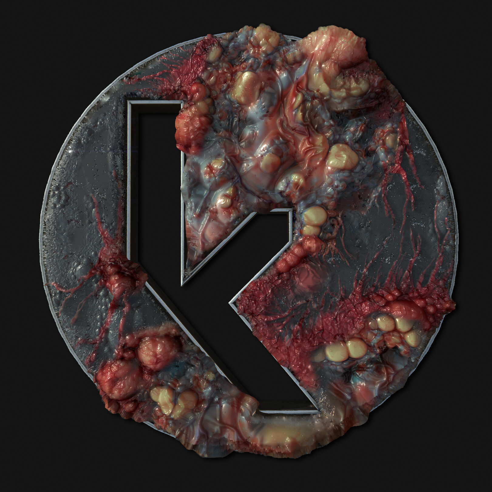 My logo as a 3D model, getting infected by procedural materials.